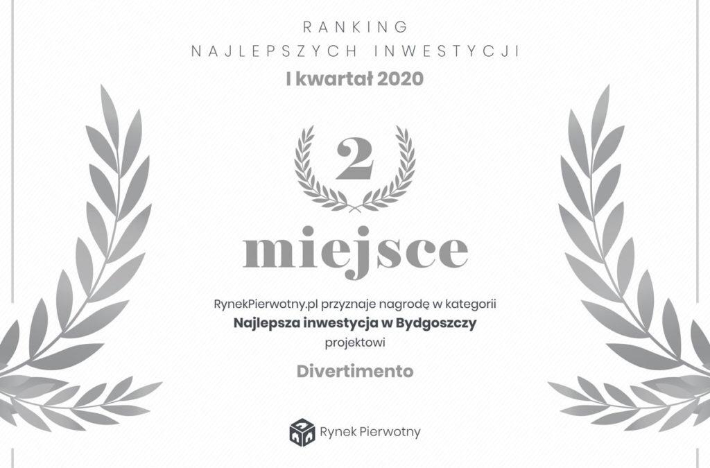 Nasza inwestycja Divertimento zajęła 2 miejsce w Rankingu najlepszych inwestycji w Bydgoszczy portalu rynekpierwotny.pl